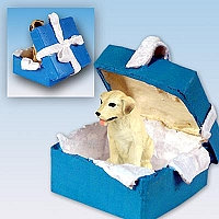 Labrador Retriever Yellow Gift Box Blue Ornament