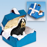Shih Tzu Black & White Gift Box Blue Ornament