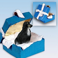 Afghan Black & White Gift Box Blue Ornament