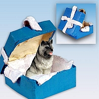 Keeshond Gift Box Blue Ornament