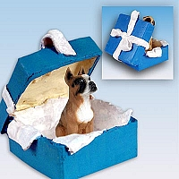 Boxer Gift Box Blue Ornament