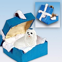 Maltese Gift Box Blue Ornament