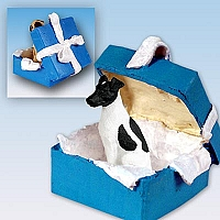 Fox Terrier Black & White Gift Box Blue Ornament