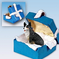 Welsh Corgi Cardigan Gift Box Blue Ornament