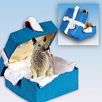 Norwegian Elkhound Gift Box Blue Ornament