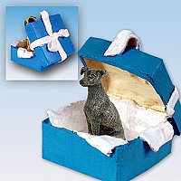 Greyhound Brindle Gift Box Blue Ornament
