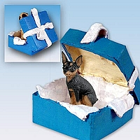 Miniature Pinscher Tan & Black Gift Box Blue Ornament