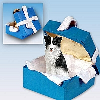 Border Collie Gift Box Blue Ornament