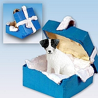 Jack Russell Terrier Black & White w/Rough Coat Gift Box Blue Ornament
