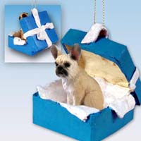 French Bulldog Fawn Gift Box Blue Ornament