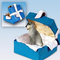 Irish Wolfhound Gift Box Blue Ornament