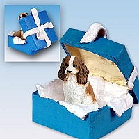 Cavalier King Charles Spaniel Brown & White Gift Box Blue Ornament