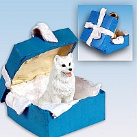 American Eskimo Gift Box Blue Ornament