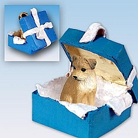 Border Terrier Gift Box Blue Ornament