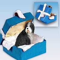 Bearded Collie Gift Box Blue Ornament