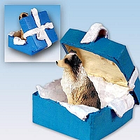 Australian Shepherd Brown w/Docked Tail Gift Box Blue Ornament