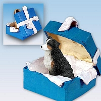 Australian Shepherd Tricolor w/Docked Tail Gift Box Blue Ornament