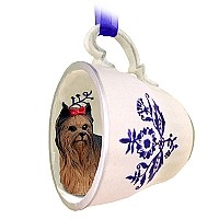 Yorkshire Terrier Tea Cup Blue Ornament