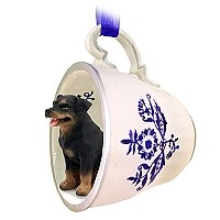 Rottweiler Tea Cup Blue Ornament