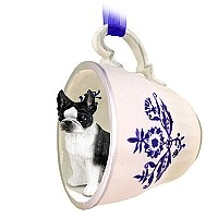 Boston Terrier Tea Cup Blue Ornament