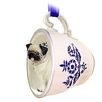 Pug Fawn Tea Cup Blue Ornament
