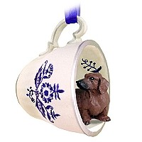 Dachshund Red Tea Cup Blue Ornament