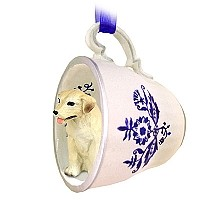 Labrador Retriever Yellow Tea Cup Blue Ornament