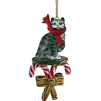 Silver Shorthaired Tabby Cat Candy Cane Ornament