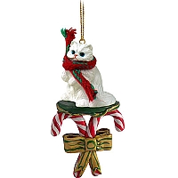 White Persian Candy Cane Ornament