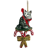 Silver Tabby Maine Coon Cat Candy Cane Ornament