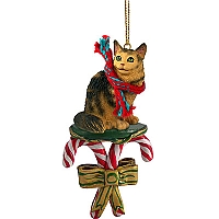 Brown Maine Coon Cat Candy Cane Ornament