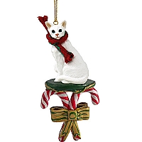 White Oriental Shorthaired Candy Cane Ornament