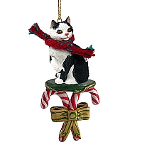Black & White Manx Candy Cane Ornament