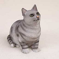 Silver Shorthaired Tabby Cat Pregnant Again Figurine