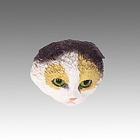 Tortoise & White Scottish Fold Tiny One head CH21