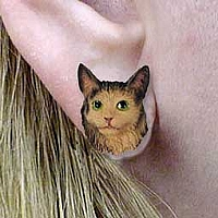 Brown Tabby Maine Coon Cat Earrings Post