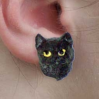 Black Shorthaired Tabby Cat Earrings Post