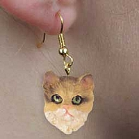 Brown Shorthaired Tabby Cat Earrings Hanging