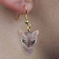 Blue Cornish Rex Earrings Hanging
