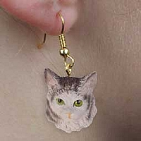 Silver Tabby Maine Coon Cat Earrings Hanging
