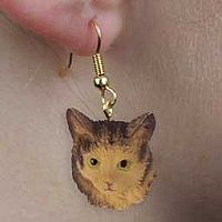 Brown Tabby Maine Coon Cat Earrings Hanging