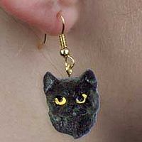 Black Shorthaired Tabby Cat Earrings Hanging