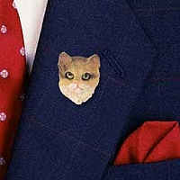Brown Shorthaired Tabby Cat Pin