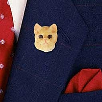 Red Shorthaired Tabby Cat Pin