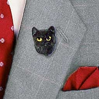 Black Shorthaired Tabby Cat Pin