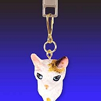 Tortoise & White Cornish Rex Zipper Charm