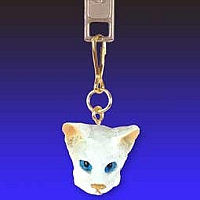 White Oriental Shorthaired Zipper Charm