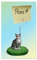 Silver Shorthaired Tabby Cat Memo Holder