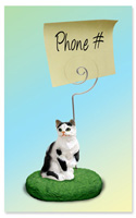 Black & White Shorthaired Tabby Cat Memo Holder