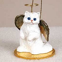 White Persian Pet Angel Ornament